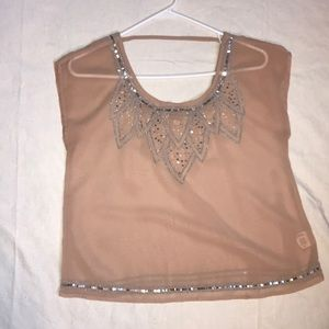 Sheer sleeveless sequined top